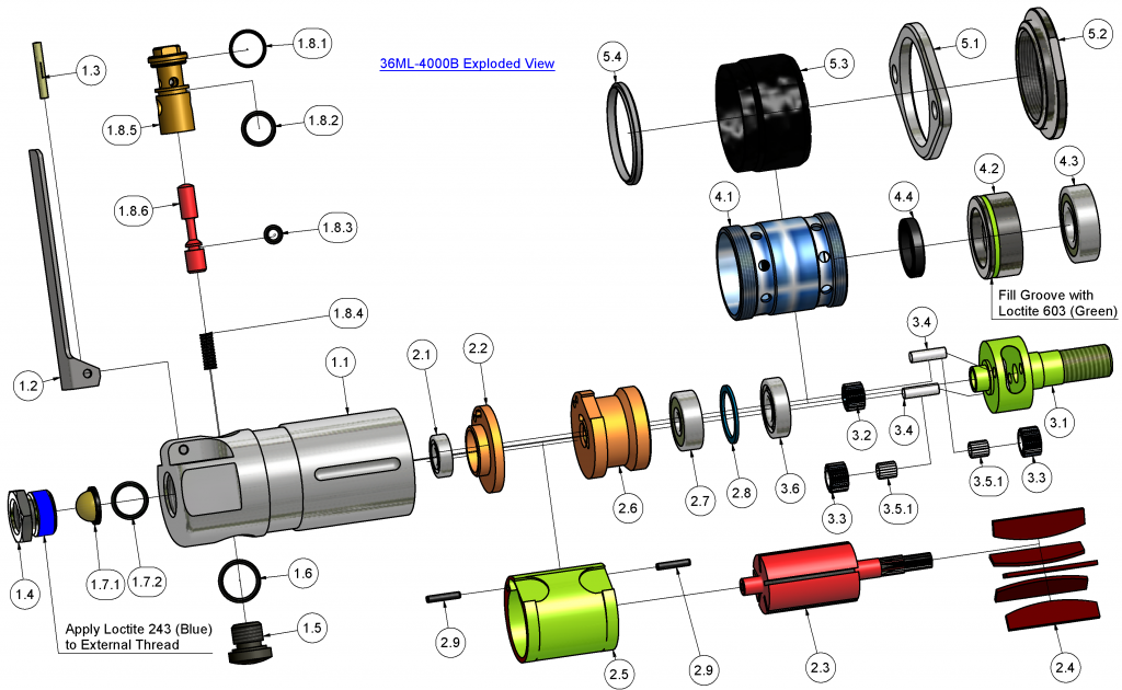 36ML-4000 Air Motor UK AirMotorCo Grange Square. High Speed Air Motor for mixing. 3D CAD Design. Exploded drawing